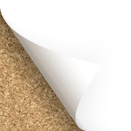 Paper lower left corner with cork background Ilustração