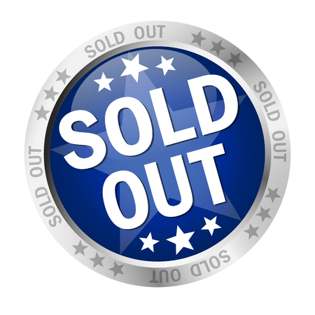 round colored button with banner and text sold out  Illustration