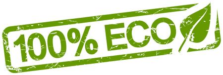 green grunge stamp with text 100% ECO isolated on white background Vektoros illusztráció