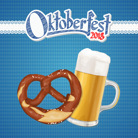 Oktoberfest 2018 background with a pretzel and a glass of beer 일러스트