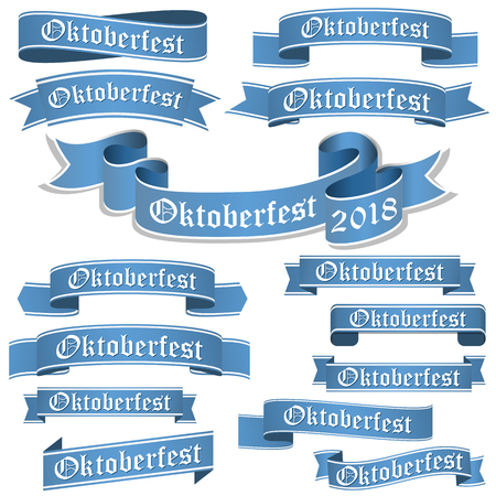 big collection of blue colored banners isolated on white background for german Oktoberfest 2018