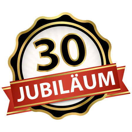 Jubilee button with banner for 30 years (text in german)