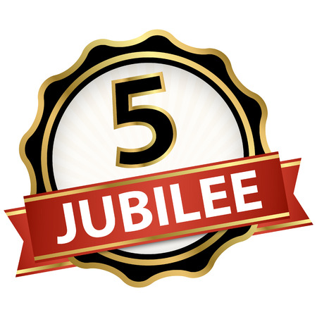 round jubilee button with red banner for marketing use for 5 years