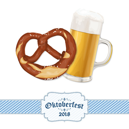 Oktoberfest 2018 background with a pretzel and a glass of beer 矢量图像