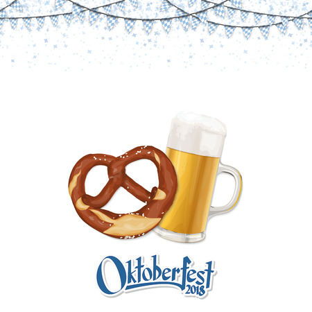 Oktoberfest 2018 background with a pretzel and a glass of beer Archivio Fotografico - 106242292