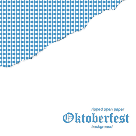 vector of ripped open white paperwith blue and white checkered German Oktoberfest background