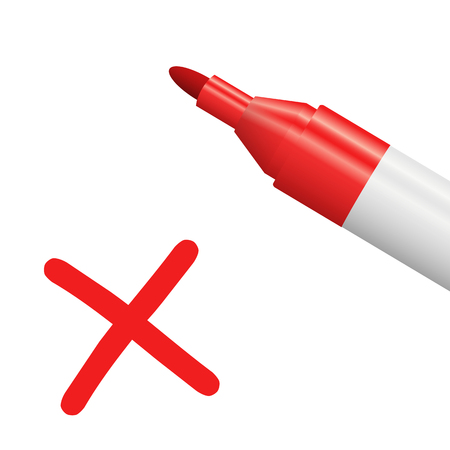 red pencil with red cross isolated on white background symbolizing selection