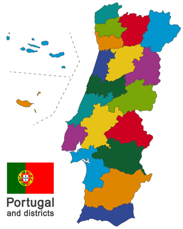 european country Portugal and districts in details Banco de Imagens - 106242030
