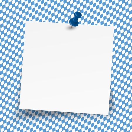sticky paper on blue and white checkered Oktoberfest background Stock Illustratie