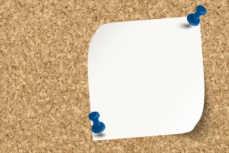 Tablero de corcho muy detallado con papel adhesivo fijado con alfileres