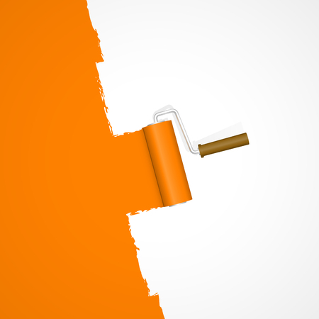 repainting with paint roller color orange on white background Ilustrace