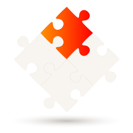 Puzzle with four parts and one red colored option Ilustração