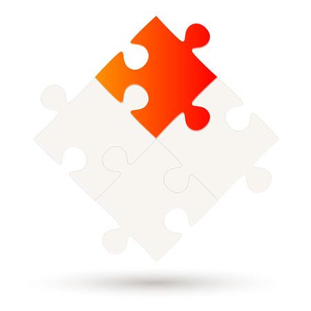 Puzzle z czterema częściami i jedną opcją w kolorze czerwonym Ilustracje wektorowe