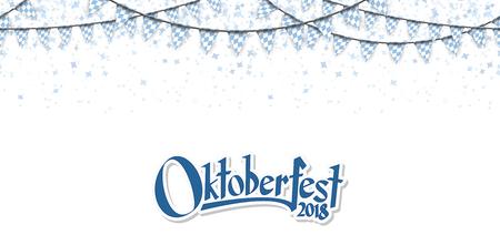 Oktoberfest 2018 garlands having blue-white checkered pattern and blue confetti Vector Illustration
