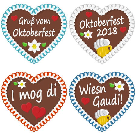 illustrated gingerbread hearts with text in german for Oktoberfest 2018 time