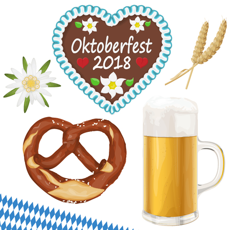 collection of typical illustrated Oktoberfest objects, beer, bretzel, gingerbread heart, wheat and Edelweiss flower