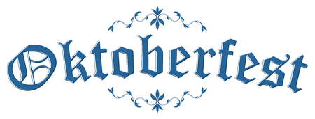 blue and white header with scribble pattern and text Oktoberfest 2018 Vettoriali