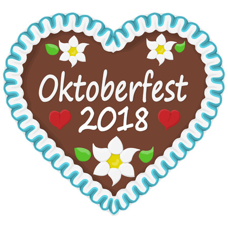 illustrated gingerbread heart with text in german for Oktoberfest 2018 time