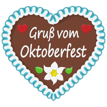 illustrated gingerbread heart with text in german for Oktoberfest time 版權商用圖片 - 111803804