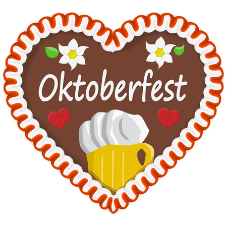 illustrated gingerbread heart with text in german for Oktoberfest time