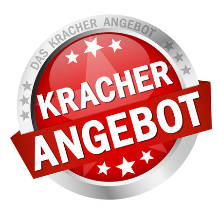 round colored button with banner and text Kracherangebot 免版税图像 - 110157758