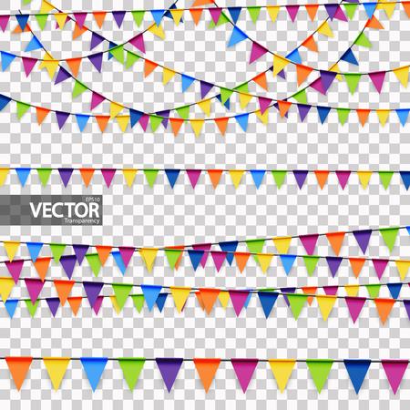Colección de fondo de guirnaldas de colores para uso en fiestas o festivales con transparencia en archivo vectorial