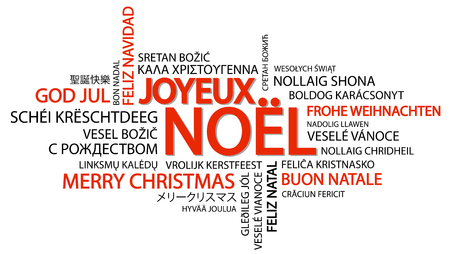 Word cloud with text Merry Christmas in different languages, in the middle one oversized and bold written in French