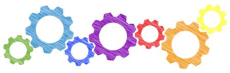 colored scribble gear wheels for cooperation or teamwork symbolism Reklamní fotografie - 110349978