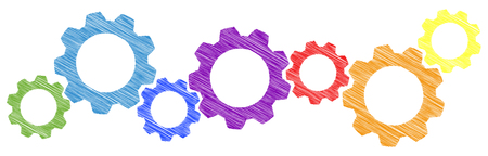 colored scribble gear wheels for cooperation or teamwork symbolism Illustration