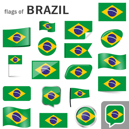 collection of flags and buttons with national country colors of Brazil