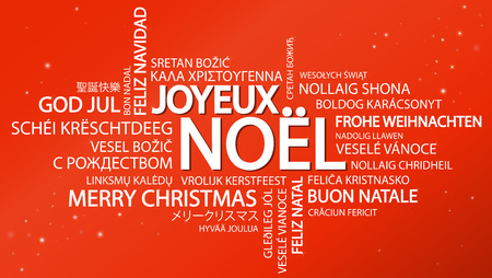 Word cloud with text Merry Christmas in different languages, in the middle one oversized and bold written in French Illustration