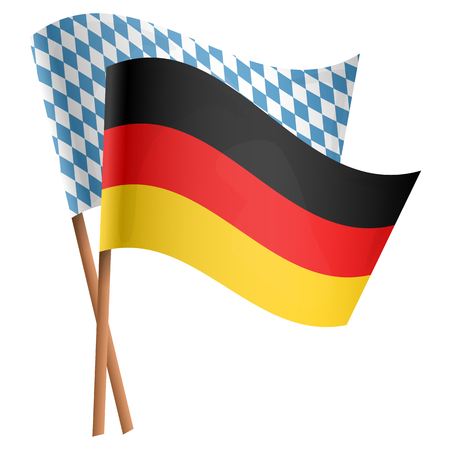 two flags with german national colors and blue white checkered Oktoberfest style Ilustrace