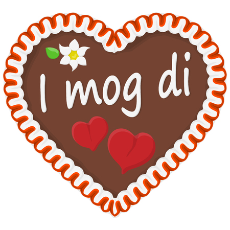 illustrated gingerbread heart with text in german for Oktoberfest time Vetores