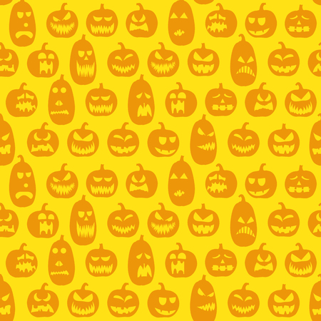 scarry seamless background with different pumpkins for halloween layouts
