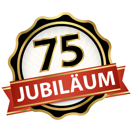 Jubilee button with banner for 75 years (text in german) Illustration