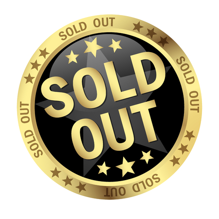 round colored button with banner and text sold out