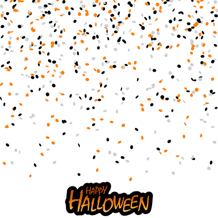 seamless confetti background with black, orange and white confetti for Halloween layouts Illustration