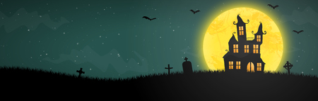 spooky halloween castle with grave stones in front of an yellow full moon with bats Ilustração Vetorial