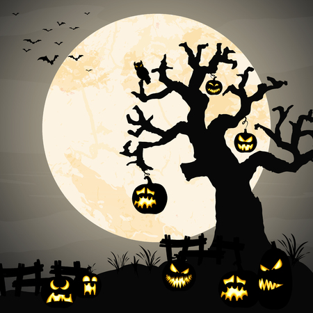 spooky halloween dead tree with some scary pumpkins in front of an full moon with bats Illustration