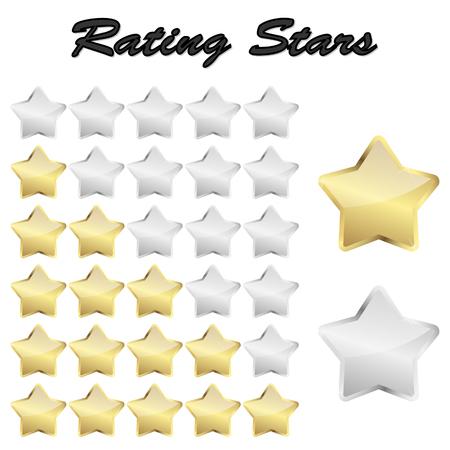 vector file of golden review stars for rating Ilustração