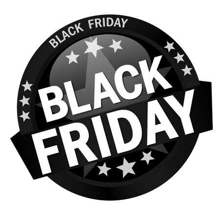round colored button with banner and text Black Friday