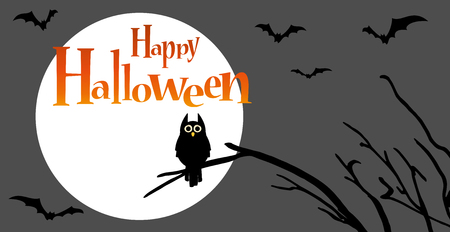 owl in front of full moon with scary illustrated elements for Halloween background layouts Stock Illustratie