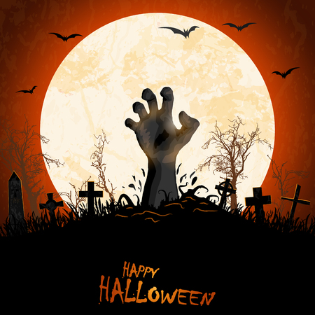 zombie hand in front of full moon with grave stones and other scary illustrated elements for Halloween background layouts Vettoriali