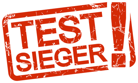 grunge stamp with frame colored red and text Testsieger