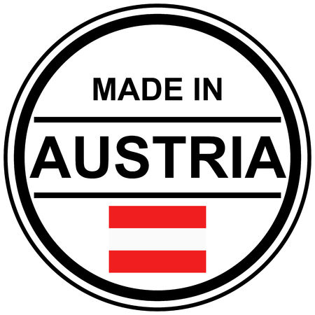 round stamp with text Made in Austria and country flag Illustration