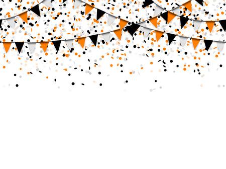 Fondo transparente de confeti y guirnaldas con confeti negro, naranja y blanco utilizado para diseños de Halloween