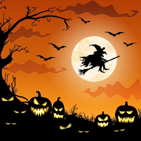 sorcière devant la pleine lune avec des éléments illustrés effrayants pour les mises en page de fond d'Halloween