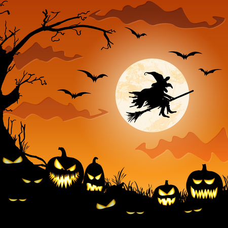 witch in front of full moon with scary illustrated elements for Halloween background layouts