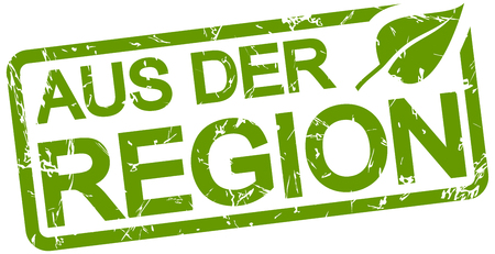 green grunge stamp with text from the region (in german) isolated on white background