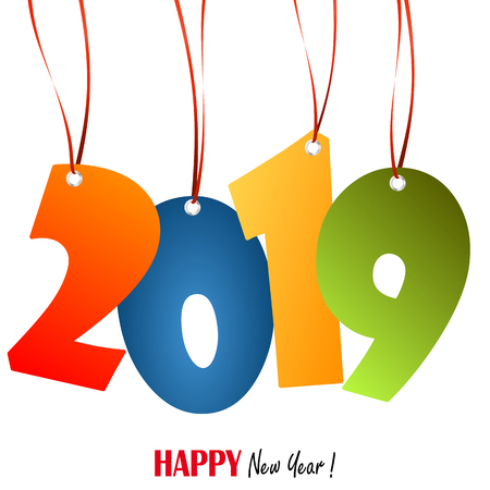farbige Hangtags mit Zahlen 2019 für Neujahrsgrüße